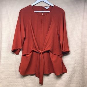Chenault Tie Front Flare Sleeve Blouse Burnt Ornge